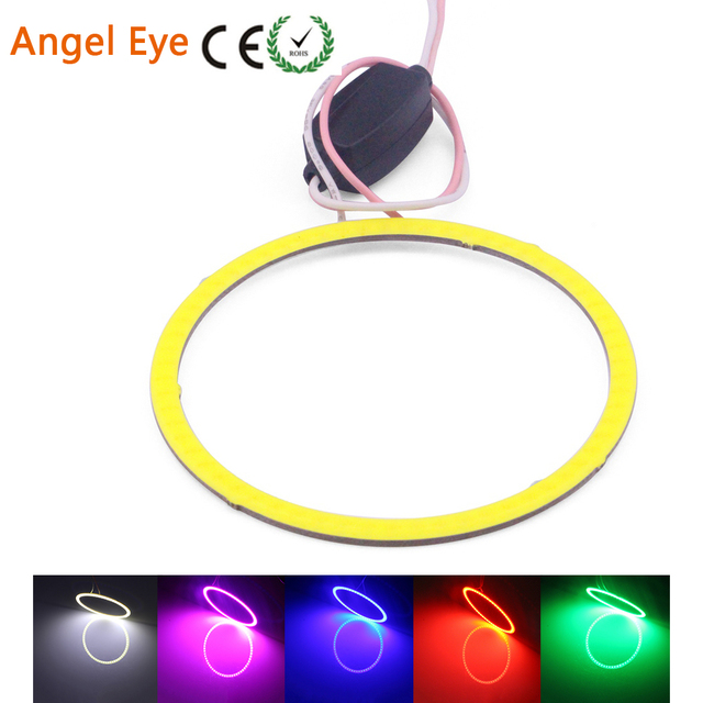 Angel Eyes COB Led Car Halo Headlight DRL 70/80/90/100/110/120mm  White/Red/Green/Blue/Pink 12V 24V 1pcs/lot