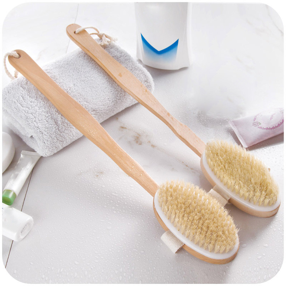 New 1Pc Qualified Shower Brush Boar Bristles Soft Bath Brush Exfoliating Body Massager with Long Wooden Handle C327