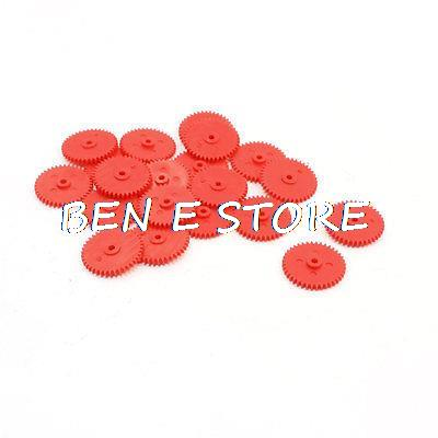 20pcs Assemble RC Toys Airplane Hexagonal Shaft Hole Red Plastic Gear 401.8A 0.4 Modulus 40 Teeth 1.75 x 16.8 x 2.9mm image