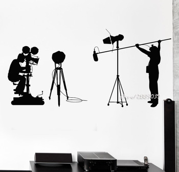 Cinema Cinematography Vinyl Wall Stickers Camera Filming Director Decal Home Decor Available In Different Colors Mural SA869 image
