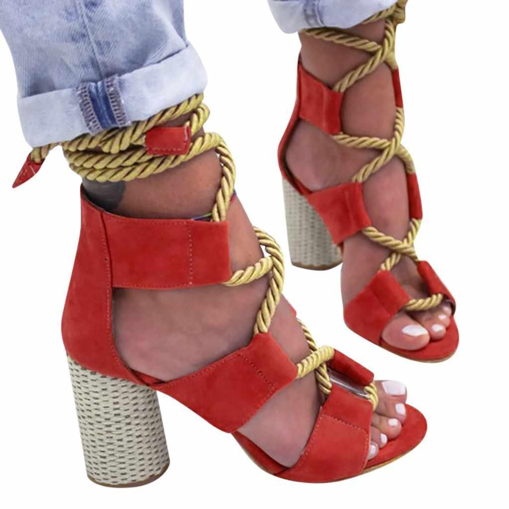 โรมแฟชั่นผู้หญิง Lace - Up ฤดูร้อนสแควร์ส้นสูงรองเท้ากัญชาเชือกสายคล้องข้อเท้าเปิดนิ้วเท้ารองเท้าแตะพฤษภาคม 31