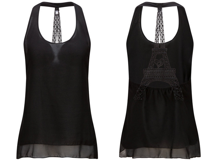 New Women Eiffel Tower Hanging Neck Backless Sexy Vest Chiffon Shirt Summer Top in Tank Tops from Women 39 s Clothing