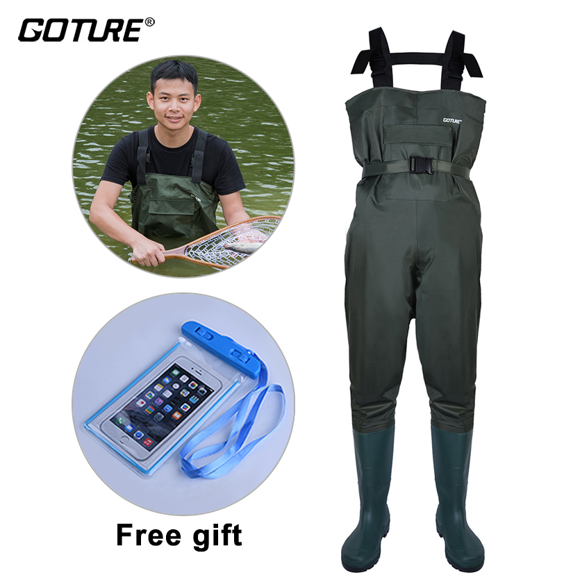 Goture High Quality 100% Waterproof Chest Fishing Waders With Breathable Rubber Fishing Boots Size #43 #44 #45 #46 Men Clothes
