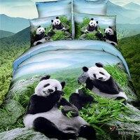 4 Adet 100% Pamuk Dev Panda Kraliçe Çocuklar Boys 3D Yatak seti Nevresim Set Çarşaf Çarşaf