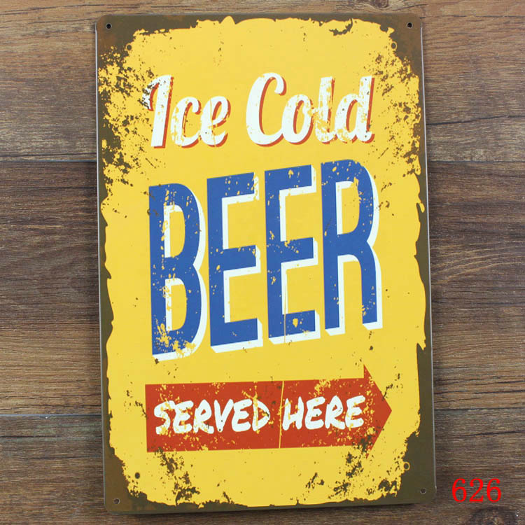 Ice Cold Beer Sold Here Metal Tin Sign Retro Pub Bar  Shop Wall Decor