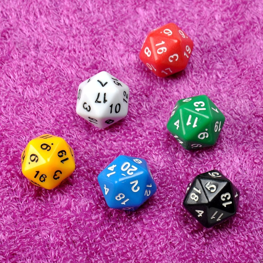 12 pcs/2sets D20 Dice Twenty Sided Die RPG D&D Six Opaque Color Multi Resin Polyhedral For Sides Dice Pop for Game Gaming image