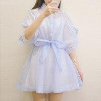 Lolita ngọt ngào dễ thương gạc Một mảnh váy ngắn tay áo với dải thắt lưng vest cotton và dress hai mảnh set
