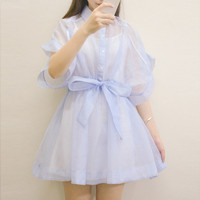 Lolita Sweet Cute Thin Gauze One Piece Dress Short Sleeve With Waist Band Cotton Vest 1