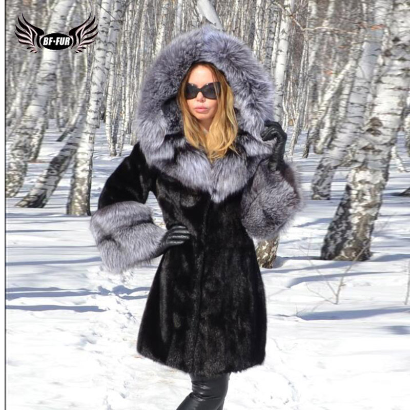 BFFUR Real Mink Fur Coat With Hood Silver Fox Fur Hood Collar 2019 New Womens Natural Furs Top Grade Elegant Casual Natural Fur