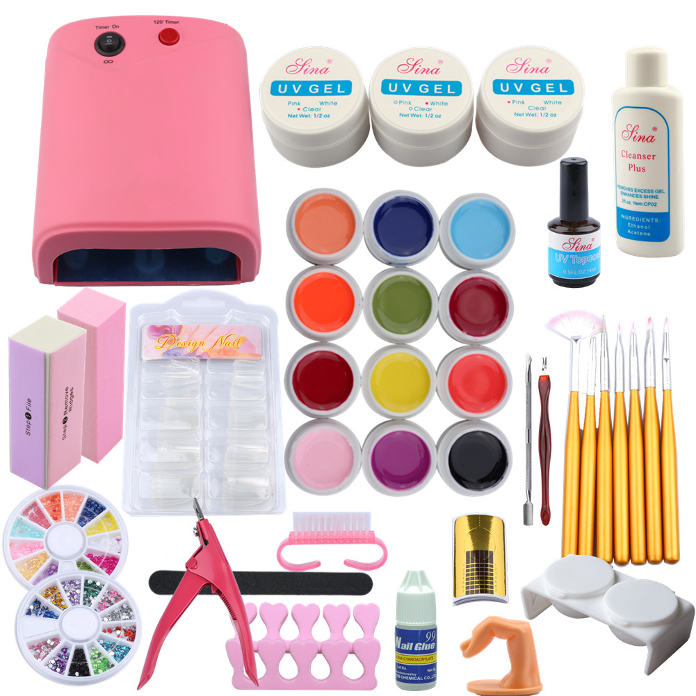 Pro 36W Nail Lamp Dryer UV Gel Nail Kit Sets Gel Polishes Tips ...
