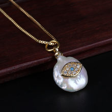 tiny cz evil eye charm natural coin freshwater pearl bead thin gold link chain pendant choker necklace for women jewelry gift(China)