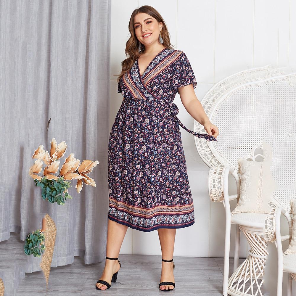 US $14.99 41% OFF|Boho Dress Plus Size Summer Loose Print Short Sleeve V  Neck Bohemian Dress Elegant Women Casual Beach Maxi Dress vestidos D40-in  ...