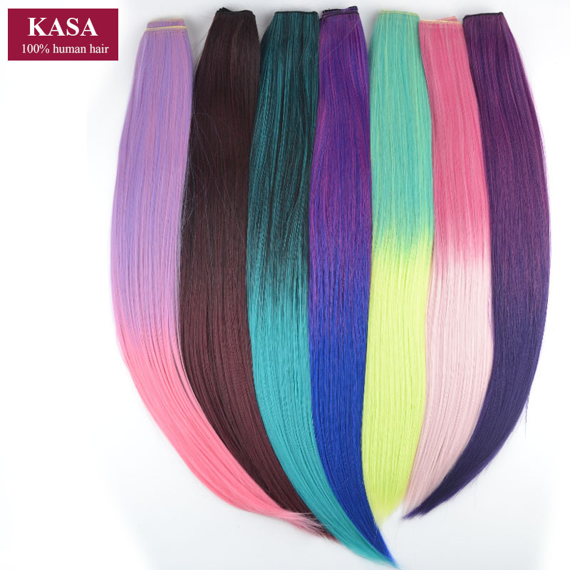 """1 Pieces jeedou Synthetic Hair Clip In Hair Extension 5Clips Straight 24"""" 60cm 110g Rainbow Ombre 14Colors Hairpieces Slice"""