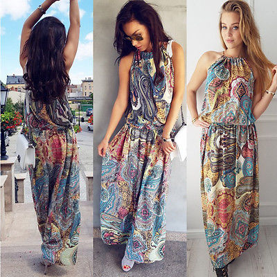 4adab491ad Boho Women Floral Maxi Dress Sleeveless Summer Long Beach Sundress Ladies  Womens Sexy Daily Dresses Clothing