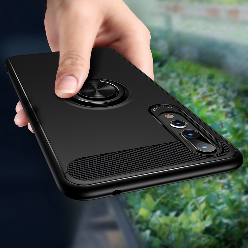Carbon Fiber Magnet Case For Huawei p20 lite p20 pro Case Soft Silicon Metal Ring Cover For Huawei honor 10 p20lite p20pro Cases-in Fitted Cases from Cellphones & Telecommunications