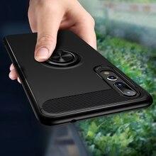 Z włókna węglowego magnes etui na Huawei p20 lite p20 pro przypadku miękkiego silikonu metalowy pierścień pokrywa dla Huawei honor 10 p20lite p20pro przypadkach
