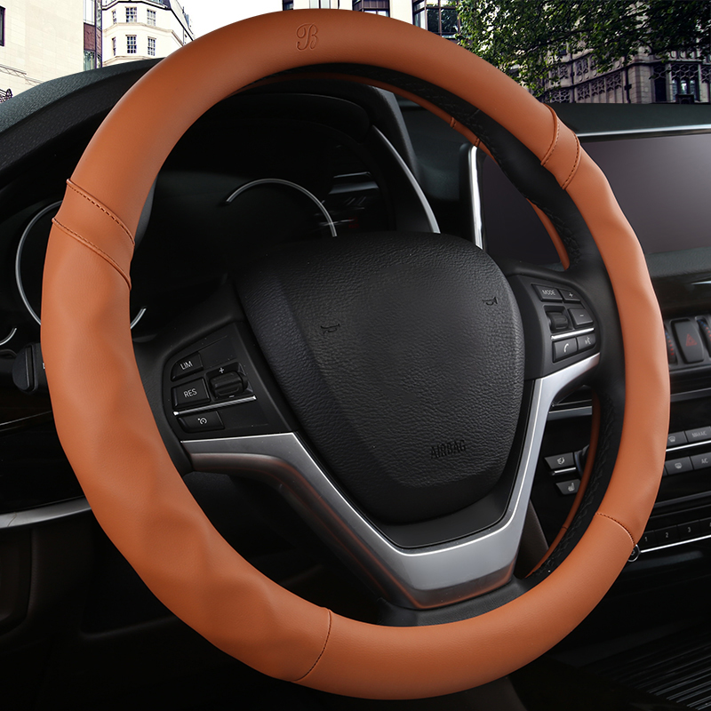 38CM Car Steering Wheel Cover Anti slip Leather Cars Wheels Covers Breathable Hand Stitching Steering-Wheel Car-stying Universal
