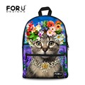 Kawaii Cute Flower Cat Print Children School Bags Animal Kids Canvas Schoolbag for Teenager Girls Student Mochila Bookbag Travel