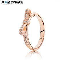 f7af99535 DERMSPE 100% 925 Sterling Silver Jewelry 180906CZ ROSE SPARKLING BOW RING  Original Women Wedding Fashion
