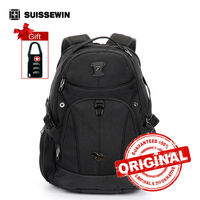 Suissewin Men Swiss Backpack Mochilas Army Backpacks 15 6 Inch Waterproof Black Laptop Backpacks Youth Mochilas