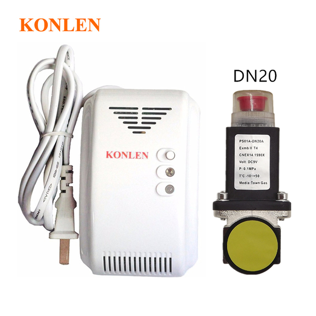 US $33 43 20% OFF|LPG Natural Gas Leak Detector Alarm With DN20  Electromagnetic Solenoid Valve for gas leakage auto shut off on  Aliexpress com |