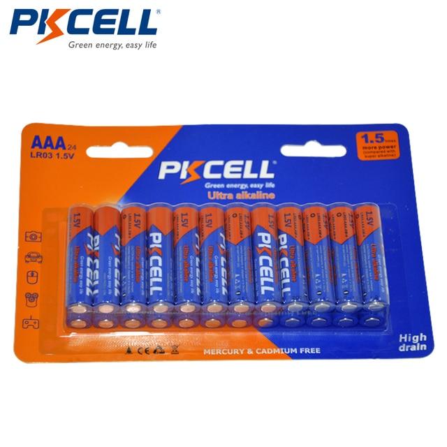 24 pcs/כרטיס PKCELL LR03 AAA 1.5V אלקליין סוללות אחת באמצעות אלקטרוני thermogun, פנסים, שעונים, בקרת שלט