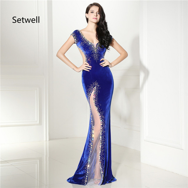 869bbf351d Setwell Illusion Sexy Side Split Prom Dresses Deep V-Neck Backless Mermaid  Prom Dress Elegant Royal Blue Evening Gowns