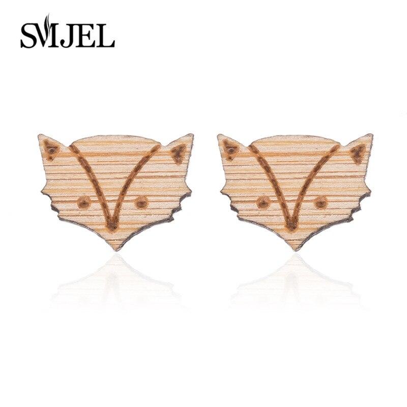 Fox Earrings Wood-2