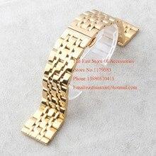 Relojes bandas de ajuste marca Reloj Del Metal del Acero Inoxidable del oro de Plata Pulseras Hombres correas Hebilla Desplegable 7 cepas de 20mm 22mm Promoción