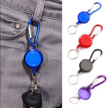 Telescopic keychain blue red Retractable Key Chain Badge Reel - Recoil Carabiner ID Ski Pass Owner camping keys gadgets F074(China)