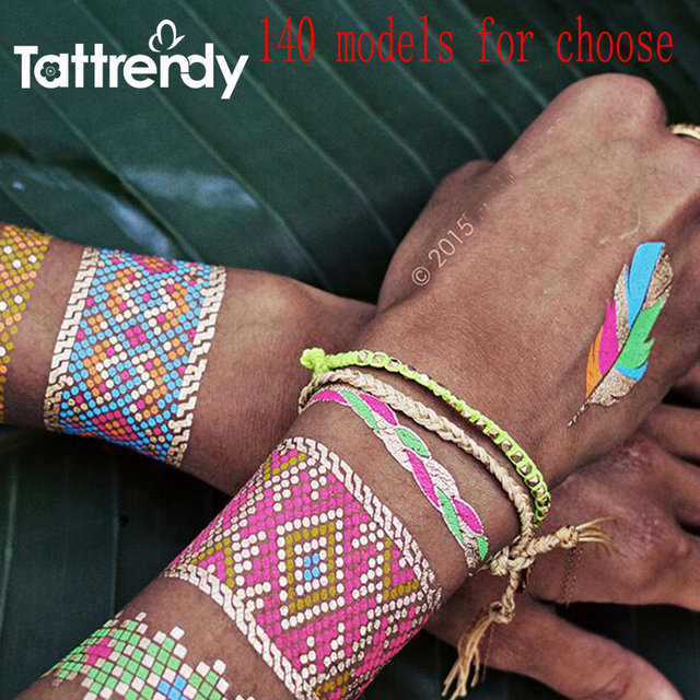1sheet New Trendy Color Feather Jewel Body Arm Painting Metallic