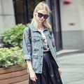 Мода 2016 Корейских Женщин Куртка Новое Прибытие Осенью и Зимой Женщины Случайный Уличная Плюс Размер Джинсовая Куртка 177 Г 25