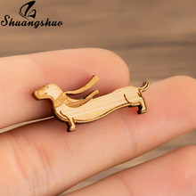 Shuangshuo Animal Dog Brooch Pins For Women Wood Dachshund Brooche Scarf Pin Stocking Stuffer Female Jewelry Wooden Gifts(China)
