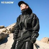 VIISHOW Mens Casual Jackets Coats Zip Male Hooded Jacket Sportswear Solid Black Windbreak Jacket Nylon Men