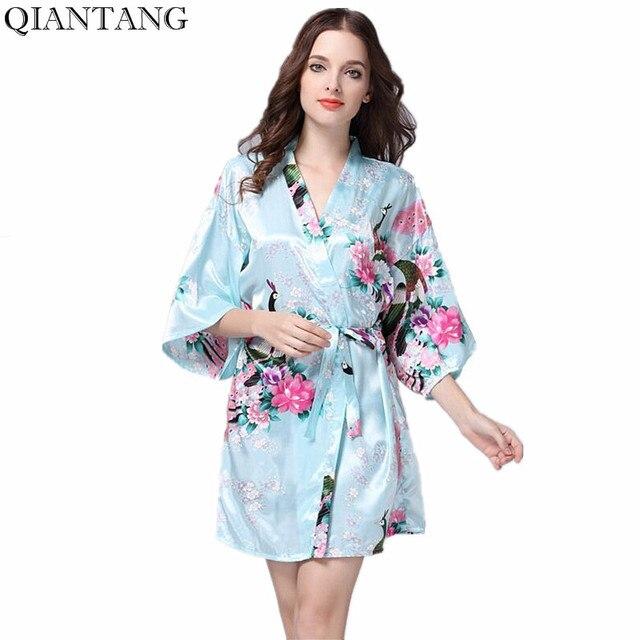 69d3b8572c2 Azul claro de las mujeres chinas seda rayón Robe Kimono baño vestido moda  señora Mujer Pijama