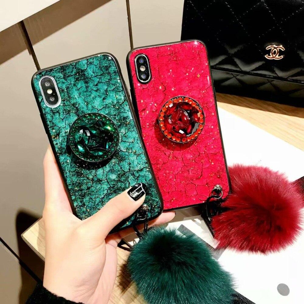 For Honor 8X Case 8A V20 Glitter Bling Diamond Gem Bracelet Chain For Huawei Mate 20 Pro P20 Lite P30 Tassel Fur Ball Cover Blak in Fitted Cases from Cellphones Telecommunications