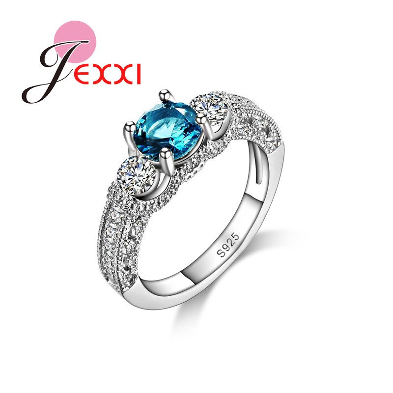 JEXXI 925 Sterling Silver Wedding Engagement Ring With Blue & White Shiny Cubic Zirconia CZ Wholesale Price For Women