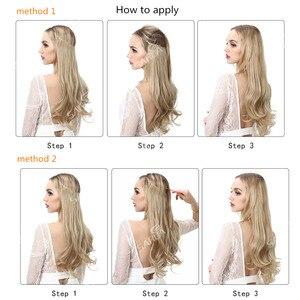 Image 4 - SARLA Extensions de cheveux synthétiques Halo, postiches avec fils cachés, bandeau Secret, sans Clip, sans bande, 10 pièces, 14 pouces, 16 pouces, 18 pouces