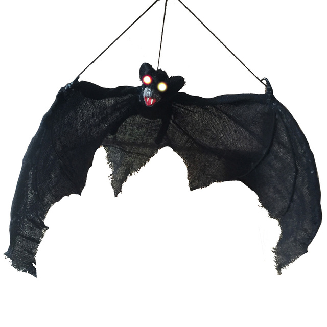 light up eyes hanging bat halloween props grave yards hunted house halloween decorations - Halloween Bat Decorations
