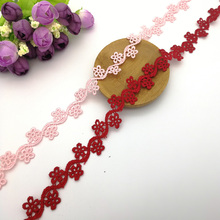 5yards Embroidered Colorful Polyester Soluble Lace Trim Small Flower Fabric DIY Home Decoration Sewing Crafts