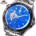 Duplo Rotativo Dial Tourbillon Oco Top Homens Automáticos Mecânicos Relógios Desportivos TEVISE Winding Militar Relogio masculino