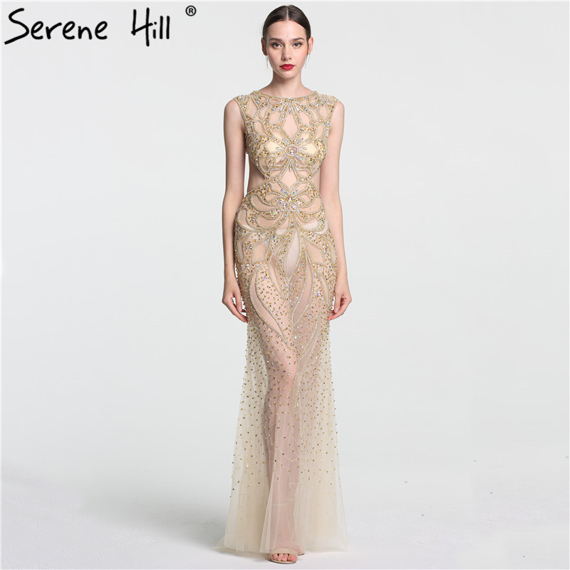 Weddings & Events Dubai Gold Beading Pearls Luxury Evening Dresses 2019 Latest Design V-neck Sleeveless Sexy Evening Gowns Serene Hill La60896