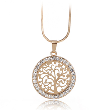 2*2cm Tree Of Life Pendant Necklace Women Jewelry 2017 Fashion Austrian Crystal Gold-plated Chain Necklaces & Pendants XL06979
