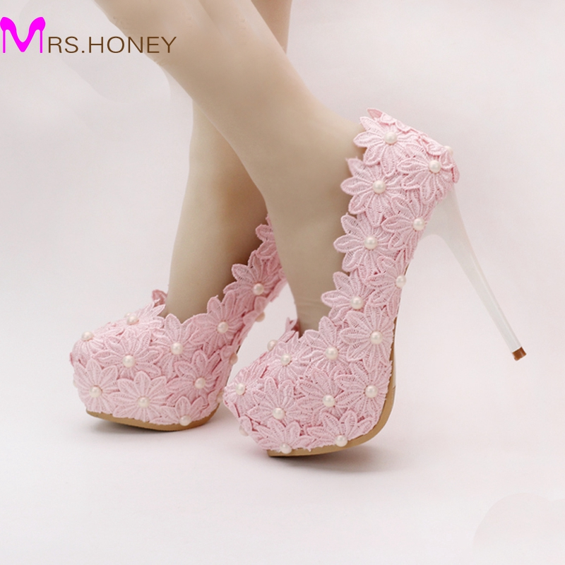 Free Shipping Pink Lace Flower Wedding Shoes Cheap Bridesmaid Shoes Woman Formal Dress Shoes
