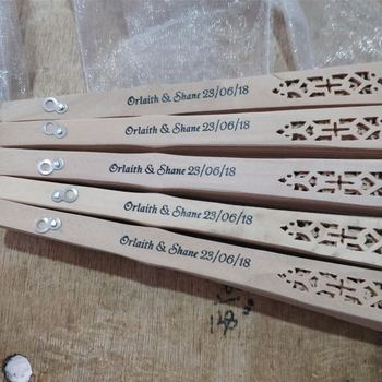 Chinese fragrance wood fan wedding hand fan with personalized bride & groom's name and wedding date