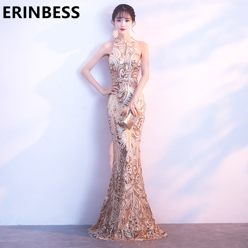 Sexy Mermaid Gold Sequined Evening Dresses Sexy Halter Neck Long Floor Length Women Formal Party Prom Gowns