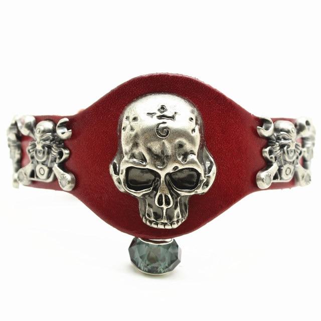 Wide Leather Bracelet Retro...