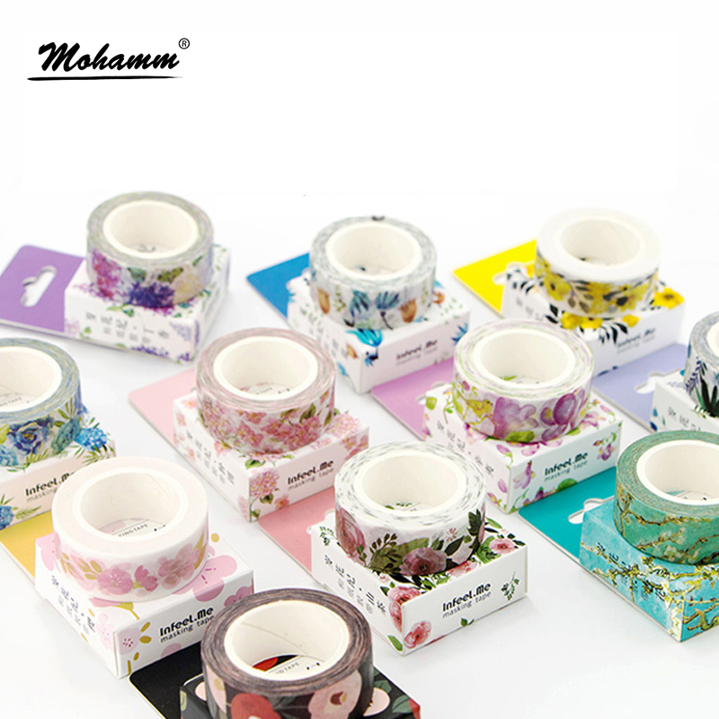 Cute Kawaii Plants Flowers Japanese Masking Washi Tape Decorative Adhesive Tape Decora Diy Scrapbooking Sticker Label Stationery infeel blue girl washi tape diy decorative scrapbooking planner masking label sticker stationery school supplies