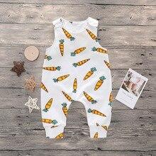 Новинка года; летний хлопковый комбинезон без рукавов с принтом морковки для новорожденных мальчиков и девочек; Детский комбинезон; костюм для подвижных игр; комплект одежды