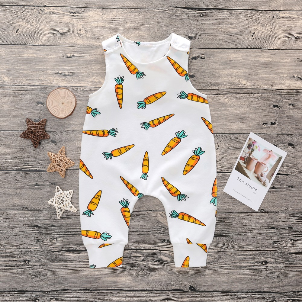 2018 New Newborn Baby Boys Girls Carrot Printed Sleeveless Summer Cotton Romper Kid Jumpsuit Playsuit Outfits Clothing Set newborn baby girls watermelon clothes kids summer casual sleeveless red romper jumpsuit outfits playsuit 0 24m